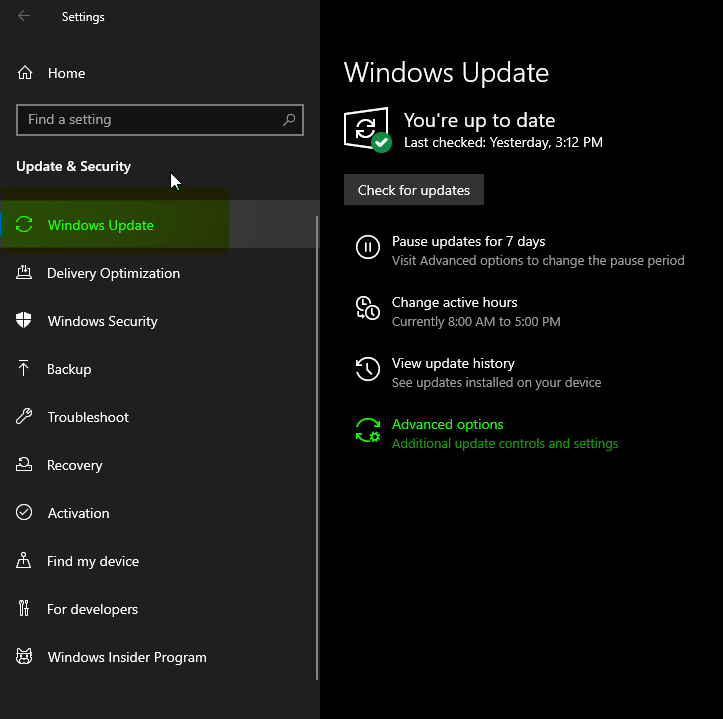 disable windows 10 update from settings